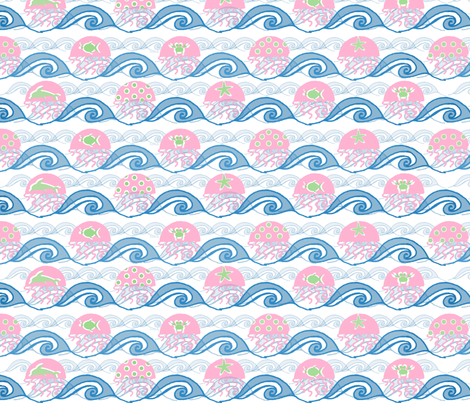 jumping jelly fish fabric by bratenellamail on Spoonflower - custom fabric