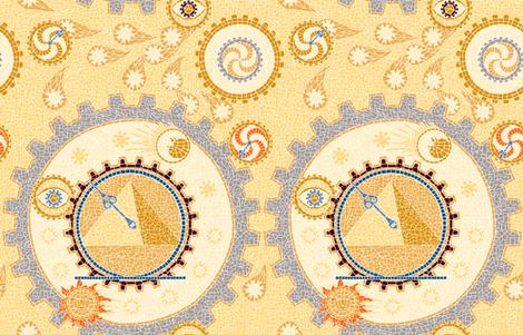 Steampunk Mosaic Time Machine -- Large version  ©2012 by Jane Walker fabric by artbyjanewalker on Spoonflower - custom fabric