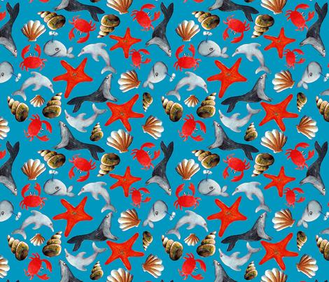 tissu liberty des mers fond bleu L fabric by nadja_petremand on Spoonflower - custom fabric