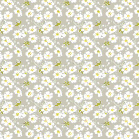 Japanese Anenomes in Linen Gray Ditsy Petite fabric by anntuck on Spoonflower - custom fabric