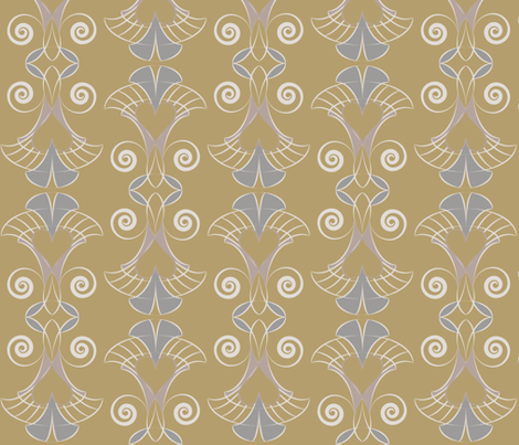 Heart Deco - 4 colors Gold fabric by owlandchickadee on Spoonflower - custom fabric