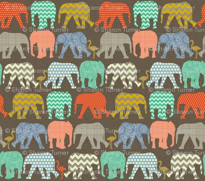 small baby elephants and flamingos savannah