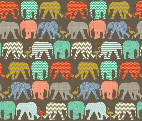 small baby elephants and flamingos savannah fabric by scrummy on Spoonflower - custom fabric