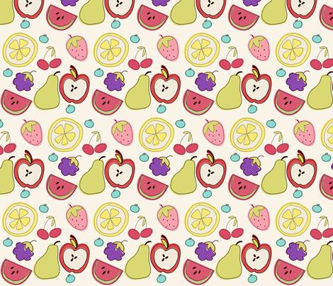 Fruit Salad in Cream fabric by pumpkinsandposies on Spoonflower - custom fabric
