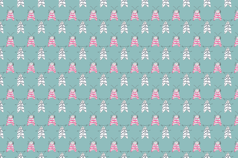 Rattlebox Moths in Blue fabric by prettypenny on Spoonflower - custom fabric