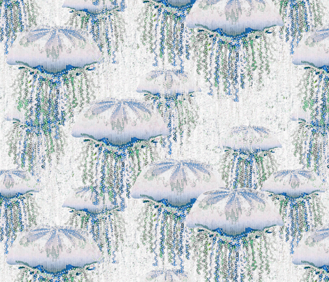 Rising Up II in Blue and Green fabric by glimmericks on Spoonflower - custom fabric