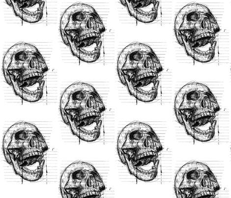 Scribble Skull fabric by rainlongson-artist on Spoonflower - custom fabric