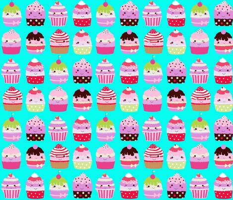 Kawaii cupcakes aqua fabric by katarina on Spoonflower - custom fabric