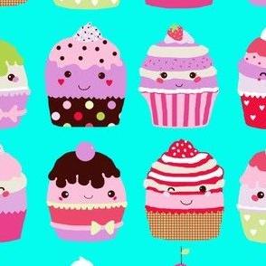 Kawaii cupcakes aqua