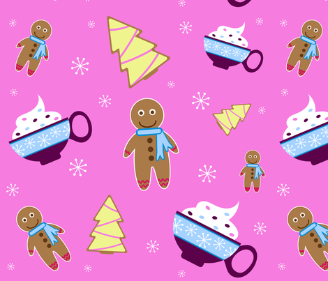cookies and cocoa holiday  fabric by gyenayme on Spoonflower - custom fabric