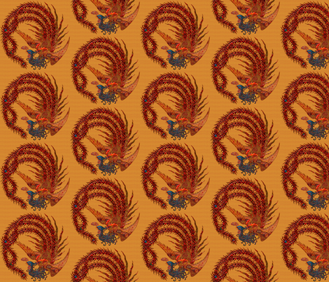 Phoenix on Gold colored background(smaller scale) fabric by eclectic_house on Spoonflower - custom fabric