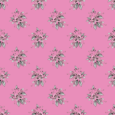 Farmhouse Roses Pink and Gray fabric by joanmclemore on Spoonflower - custom fabric