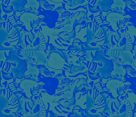 Elephant Abstract  - blue fabric by bettieblue_designs on Spoonflower - custom fabric