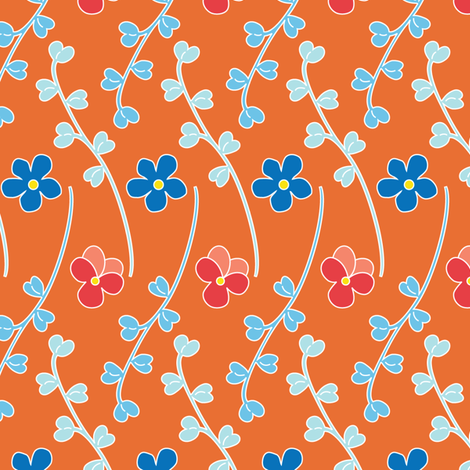 Leaflets - Orange fabric by kayajoy on Spoonflower - custom fabric