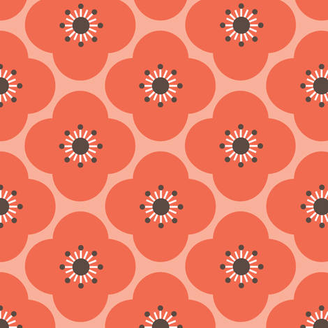 Bloom Clouds - coral & charcoal fabric by kayajoy on Spoonflower - custom fabric