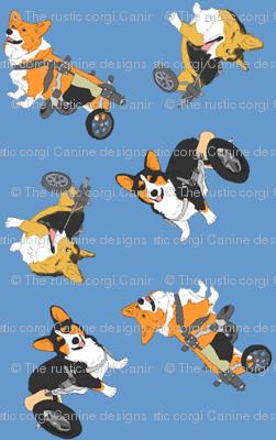 Corgi's on wheels small - blue