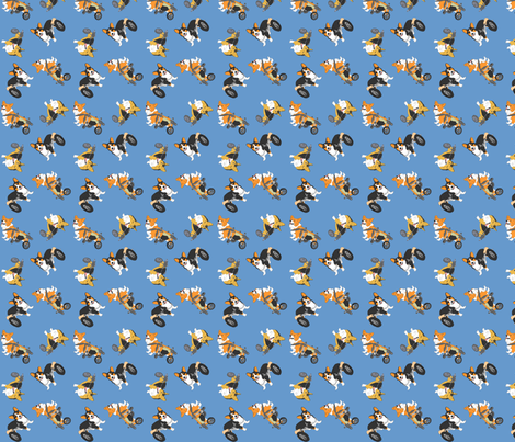 Corgi's on wheels small - blue fabric by rusticcorgi on Spoonflower - custom fabric