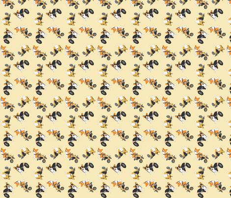 Corgi's on wheels small - tan fabric by rusticcorgi on Spoonflower - custom fabric