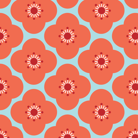 Bloom Clouds - coral & blue fabric by kayajoy on Spoonflower - custom fabric