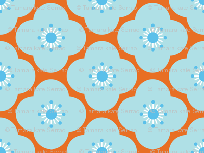Bloom Clouds - orange & blue