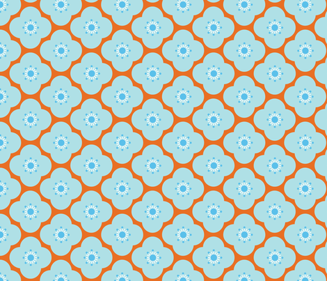 Bloom Clouds - orange & blue fabric by kayajoy on Spoonflower - custom fabric