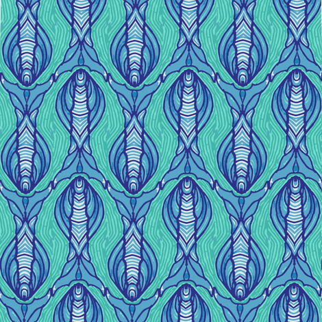 blue_and_turquise_fish fabric by kirpa on Spoonflower - custom fabric