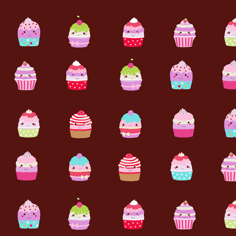 cupcakes brown smaller scale fabric by katarina on Spoonflower - custom fabric