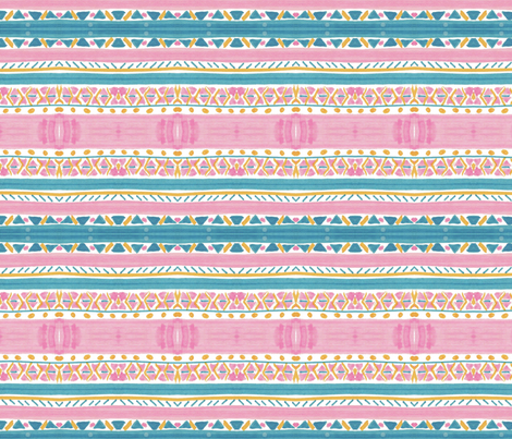 Pink Aqua Stripes fabric by captiveinflorida on Spoonflower - custom fabric