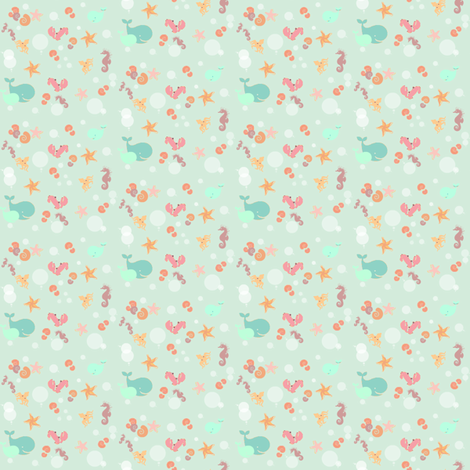 Ditsy Sea Creature-ed fabric by 2reneevk on Spoonflower - custom fabric