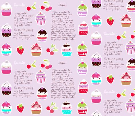 cupcake recipe fabric by katarina on Spoonflower - custom fabric