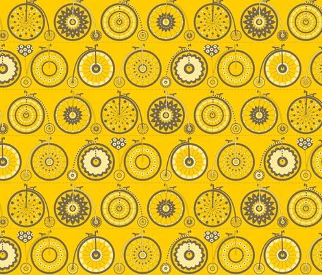 Bicycle Love - yellow & grey fabric by kayajoy on Spoonflower - custom fabric