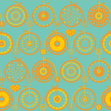 Bicycle Love - sunshine fabric by kayajoy on Spoonflower - custom fabric