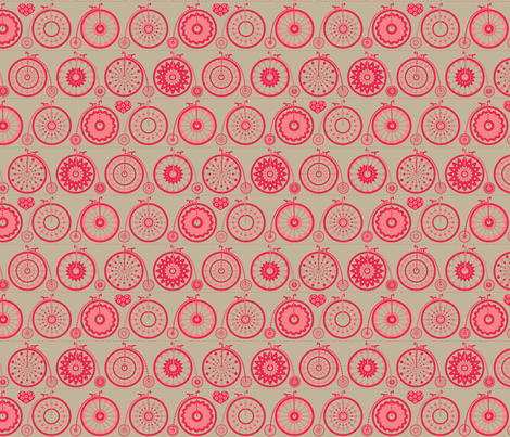 Bicycle Love - cranberry fabric by kayajoy on Spoonflower - custom fabric