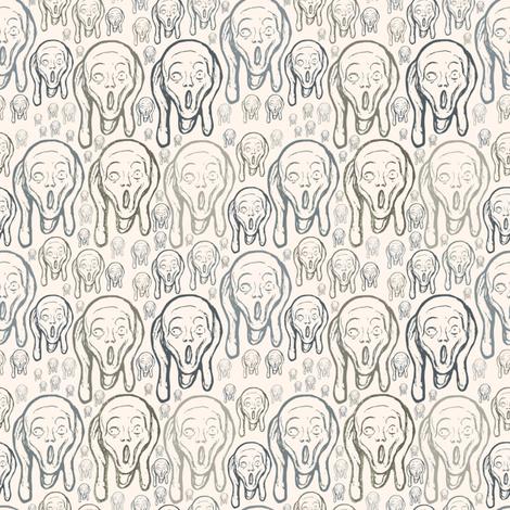 Scream on warm cream fabric by susiprint on Spoonflower - custom fabric