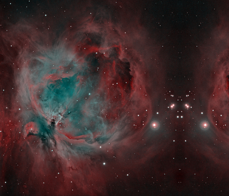 Orion_Nebula_HOO_narrowband_with_FLI_ML8300 fabric by tingish on Spoonflower - custom fabric