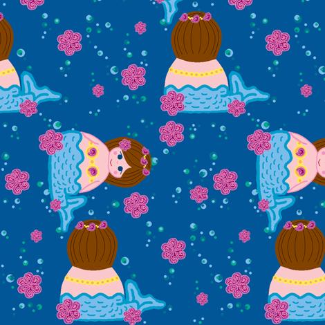 mermaids in the sea fabric by squeakyangel on Spoonflower - custom fabric