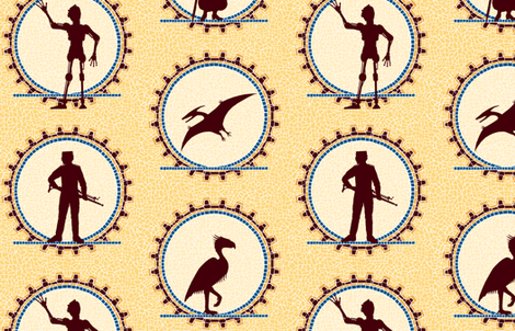 Steampunk Character Silhouettes -- Large version  ©2012 by Jane Walker fabric by artbyjanewalker on Spoonflower - custom fabric