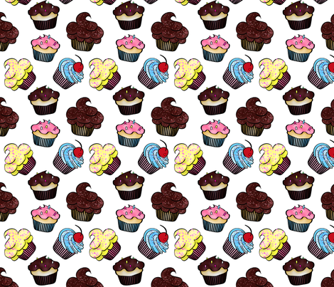 Chocolate Cup Cakes fabric by mystikel on Spoonflower - custom fabric