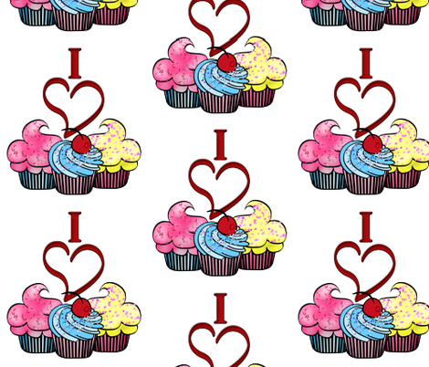 I love Cup Cakes fabric by mystikel on Spoonflower - custom fabric