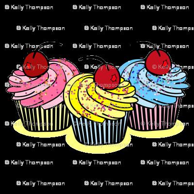 Three Cherry Cup Cakes