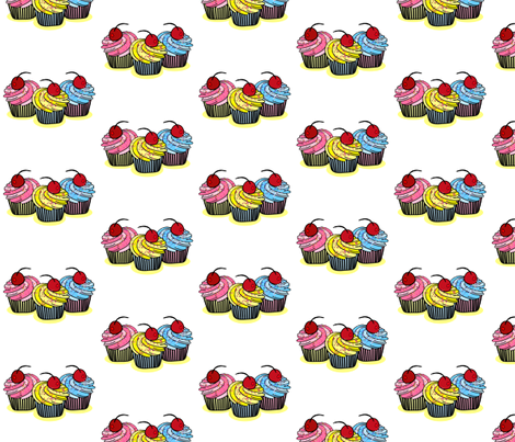 Three Cherry Cup Cakes fabric by mystikel on Spoonflower - custom fabric