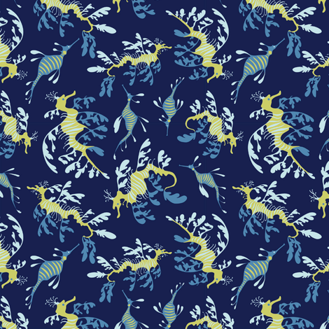 Ditsy Sea Dragons fabric by pkfridley on Spoonflower - custom fabric