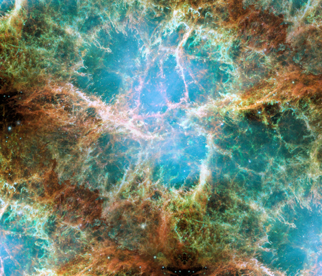 Final Frontier Collection ~ Crab Nebula  fabric by peacoquettedesigns on Spoonflower - custom fabric
