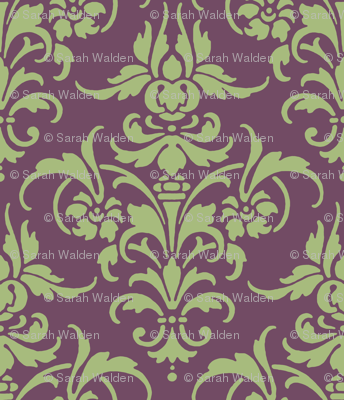 Celadon and Iris Damask