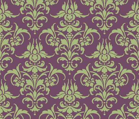 Celadon and Iris Damask fabric by peacoquettedesigns on Spoonflower - custom fabric