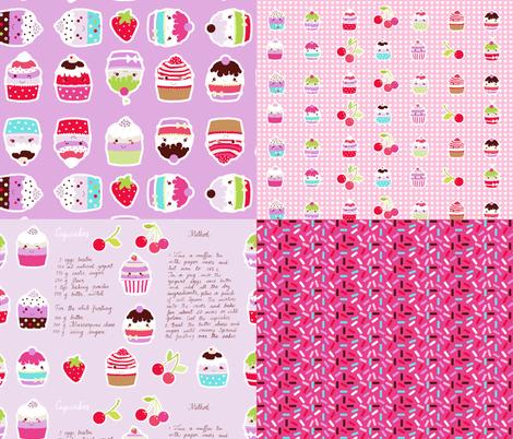 cupcake coordinates in pink fabric by katarina on Spoonflower - custom fabric