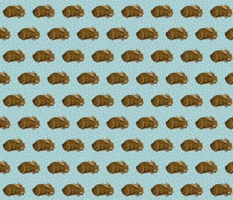 small print chocolate bunny rabbit fabric by salzanos on Spoonflower - custom fabric