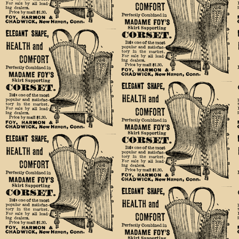 1918 ad Madame Foy's Corset For Health & Comfort fabric by edsel2084 on Spoonflower - custom fabric