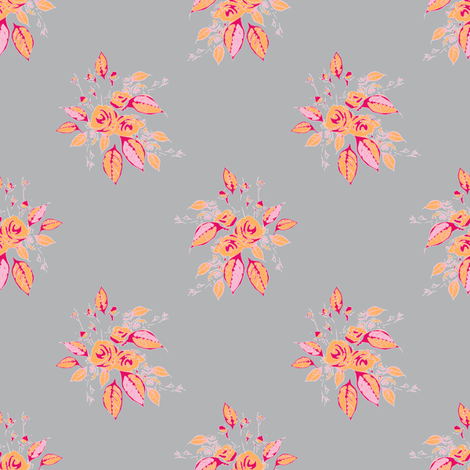 Farmhouse Roses pink orange gray fabric by joanmclemore on Spoonflower - custom fabric