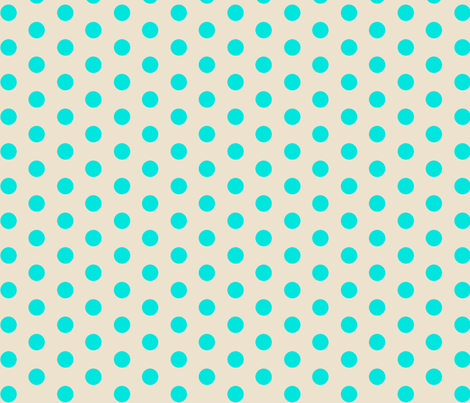Closer Aqua Dots on Cream fabric by jennyf on Spoonflower - custom fabric